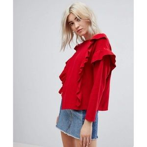 Bershka Red Ruffle Sweater